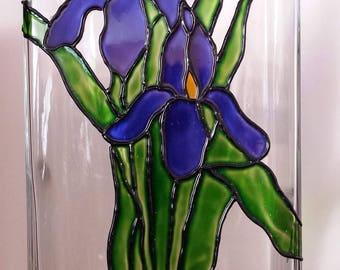 Glass Painted Iris Vase