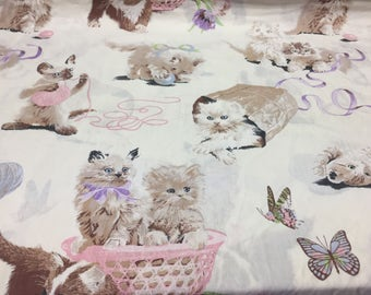 Adorable Kittens Flat Sheet / Full / Vintage Sears Roebuck and Co.