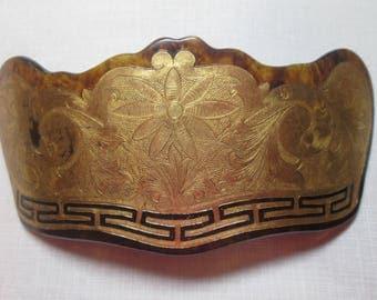 Antique 10K Gold Foil 1930's Barrette Vintage Hair Ornament