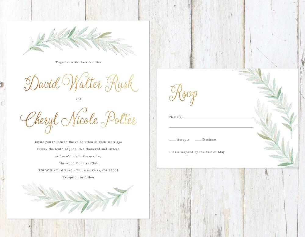 Rustic Wedding Invitations Nz: Rustic Watercolor Wedding Invitation Gold Greenery Wedding