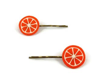 Set of 2 orange slices hair clips, tangerine or clementine hair clips, gourmand fancy hair pins, plastic fruits hair clips (recycled CD)