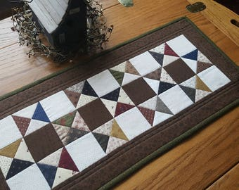 Quilted Table Runner /  Quilted Star Table Runner / Table Runner/ Primitive Table Runner/ Country Decor/Handmade