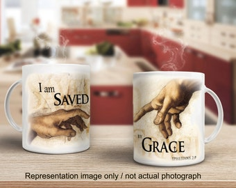15 oz. Inspirational Coffee Mug / I am Saved by Grace . . . /  (G2715-1)