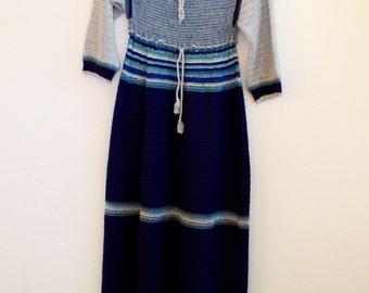 vintage knit crochet  dress hippie 70s boho handmade
