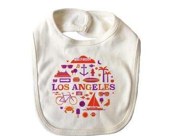 City Living Bib - Los Angeles - California - Baby Shower - Newborn Gift - Drool bib - Baby Nursery - Gender Neutral - Hometown - Organic