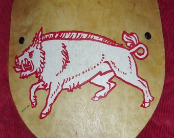 Vintage Wooden Shield for Role Playing Games with Wild Boar Symbol