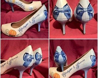 Custom customised personalised hand painted bridal wedding shoes heels