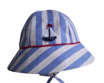 Blue Stripe Red Piping Sailboat Baby Boy Sun Hat