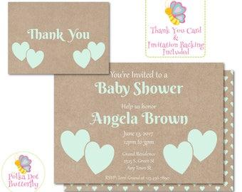 Green Heart Baby Shower Invitation, Rustic Baby Shower Invitation, Rustic Shower Invitation, Baby Boy Shower, Baby Shower Invite
