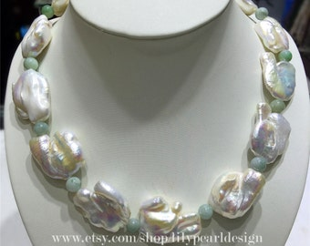 big keshi pearl necklace,jade necklace,characteristic necklace,irregular necklace