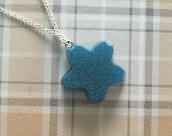 Simple Minimalist Blue Sakura Flower Necklace, Handmade Resin Pendant.