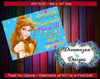 Beauty and Beast Birthday Invitation; Belle Invitation; Princess Invitation; Princess Belle Invitation; Birthday Invitation; Princess Bell