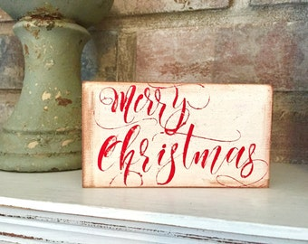 Small wooden sign- Merry Christmas (white)