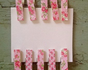 Decorative Clothes Pins.  Scrapbooking Supply.  Craft Supply.  Pink Floral Clothes Pins.  Shabby Chic Clothes Pins
