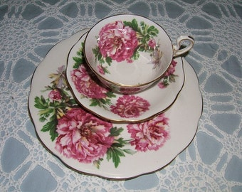 "Royal Standard Bone China ""Amethyst"" Trio - Cup, Saucer, 8"" Plate - Pink Peonies"