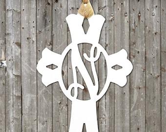 Cross Monogram Wooden Cutout | Door Hanger Initial | Wooden Monogram | Initial |  Home Decor | Religious Monogram | Jesus |