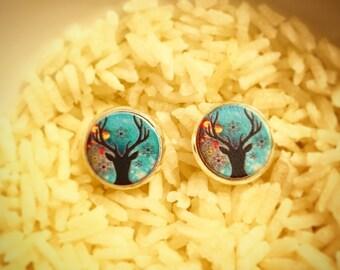 Wooden Deer Silhouette Stud Earrings, Deer Silhouette Earrings, Deer Silhouette Studs, Deer Earrings, Deer Studs, Woodland Creature Earrings