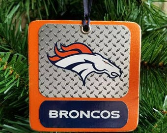 BRONCOS Wood Christmas Ornament NFL Ornaments