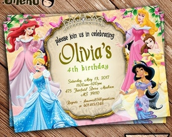 SALE 50% OFF Disney Princess Birthday Invitation Printable - Personalized - Disney Princess Theme - Invitations for Girls