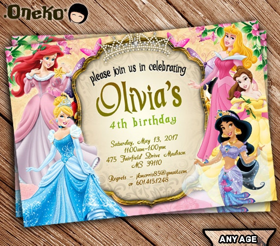 SALE 50 OFF Disney Princess Birthday Invitation Printable – Personalized Disney Birthday Invitations