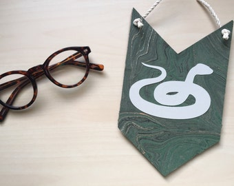 Slytherin Pennant, Wall Hanging, Gallery Wall, Harry Potter Art, Harry Potter Nursery, Graduation Gift, Harry Potter Wedding, Dorm Banner