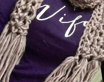 Handmade Finger Crochet Scarf - Frosted Plum