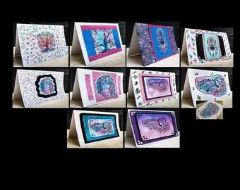 10 Notecards Greeting Handmade Art Cards with Original Artwork #QN63.64.51.50.52.53.56.57.54.55