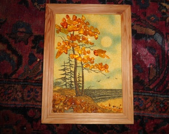 Vintage Golden Amber Gravel Art Landscape Scene made with Real Gemstones that represent leaves both on and off a tree in the fall on a shore