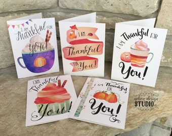 Notecards, Greeting Cards - Thankful for You, watercolor, 5x7, set of 2 with envelopes, 5 pack with envelopes