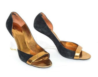 Barbara Bui Gold and Clear Wedge Heel Shoes