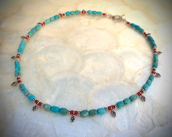 Campitos turquoise beads necklace antique coral and sterling silver beads