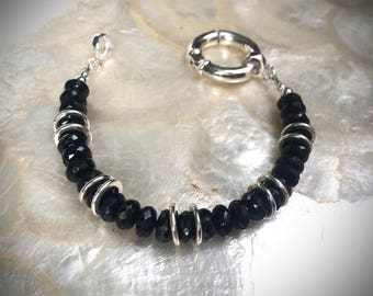 bracelet with faceted onyx beads sterling silver 925