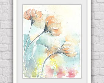 Flowers watercolor print, Flower print, Digital art, Orange flowers, Printable wall decor, Downloadable artwork, Modern home decor
