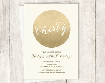 Gold Birthday Invitation / Gold Sparkle Invite / Metallic Gold and Cream / Thirtieth Birthday ▷ Printable File {or} Printed & Shipped
