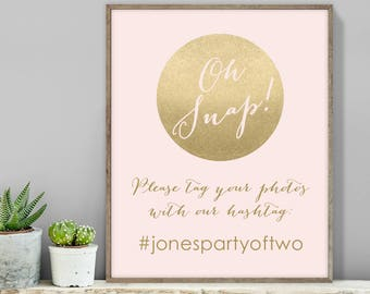 Blush and Gold Wedding Hashtag Sign / Instagram Sign / Metallic Gold and Blush / Faux Gold ▷ Printable File {or} Printed & Shipped
