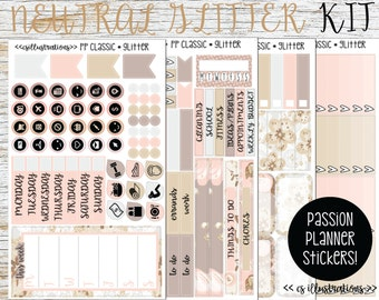 Neutral Glitter Kit; 4 Sheets | Perfect for Passion Classic and Compact Planner | Passion Planner Stickers