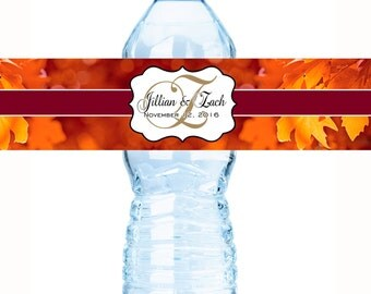Autumn Monogram Water Bottle Labels - Fall Wedding Decor - Autumn Wedding Bottle Wraps - Autumn Wedding Labels - Bridal Shower Labels