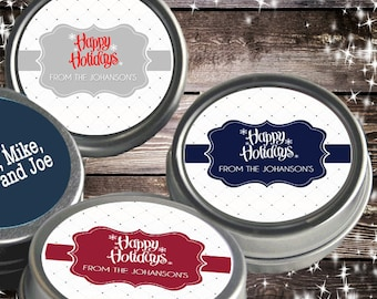 12 Personalized Happy Holidays Mint Tins Favors Holiday Mints - Christmas Favors - Holiday Party Favors - Stocking Stuffers - Happy Holidays