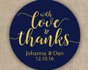 With Love and Thanks, Custom Labels - Personalized Stickers -  Round Stickers - Stars - Color Coordinated - Wedding Decor - Thank you