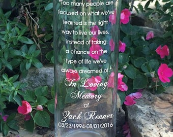 Wedding Memory Memorial Vase - In Loving Memory Vase -Floating Wedding Memorial Candle - Memorial Candle - Engraved Memorial Cylinder
