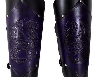 Made-to-Order Dragon Greaves - Hand tooled & Painted Leg Armour - Fantasy LARP