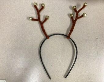 Handmade Reindeer Antler Headband with Jingle Bells-Ready2Ship!