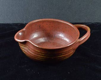 """Handled Earthenware / Stoneware Bowl With Spout - 2.5"""" Tall x 5.75"""" Diameter"""