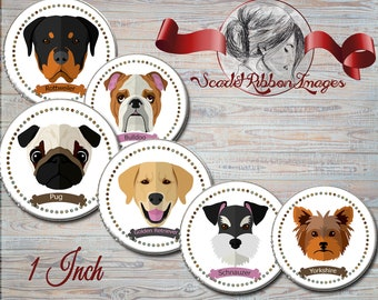 DOG BREED CIRCLES  Bottle Cap images -  15 different breeds in 1 in circles  - 600dpi, Collage Sheet, cupcake toppers, Gift Tags, BottleCaps