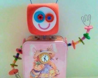 Suzi Q N2 found object assemblage art bot