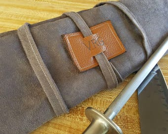 8 slot Knife roll with zipper pocket (Initials or name) *Made to order*