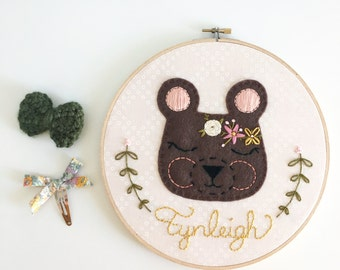 "Reserved:  Custom 9"" Flower Bear Embroidery Hoop"