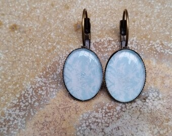 Blue Lever Back Earrings, Threader, Oval, Cameo, Made in australia, Glass Dome Earrings, Pierced Earrings, Ladies Gift, Cabochon