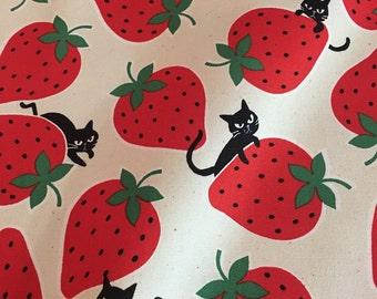 Kokka - Kitties & Strawberries Cream - Cotton Oxford