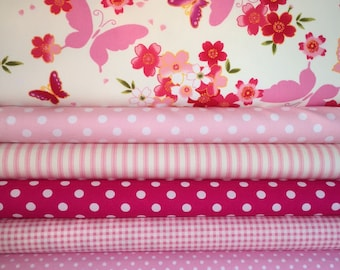 Pink Coordinating Fat Quarter Bundle, Quilting and Patchwork Fabric, 100% Cotton